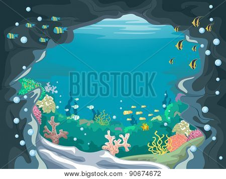 Scenic Illustration of an Underwater Cave with Colorful Fishes Swimming About