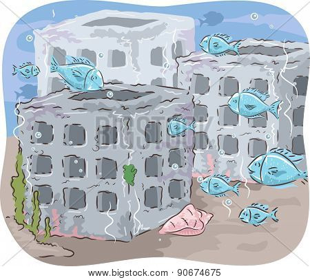 Illustration of Fishes Swimming in and out of Artificial Reefs