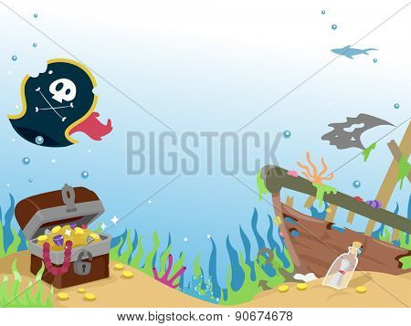 Background Illustration of a Sunken Pirate Ship