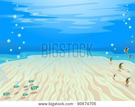 Colorful Illustration of a Stretch of Sand Under the Sea