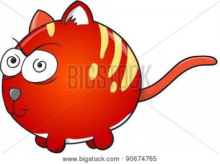 Crazy Insane Cat Vector Illustration Art