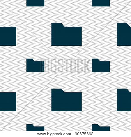 Document Folder Icon Sign. Seamless Pattern With Geometric Texture. Vector