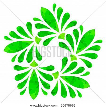 Watercolour pattern - Green abstract flower