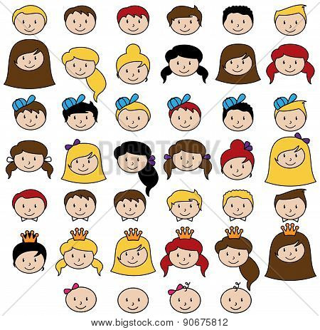 Set of Cute and Diverse Stick People Heads in Vector Format