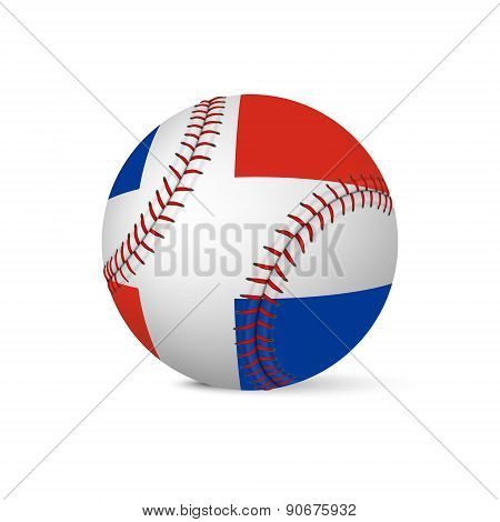 Baseball with flag of Dominican Republic, isolated on white