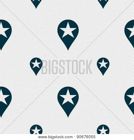 Map Pointer Award, Gps Location Icon Sign. Seamless Pattern With Geometric Texture. Vector