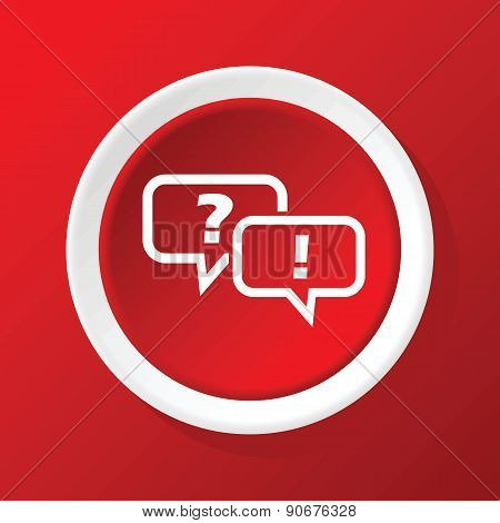 Question answer icon on red