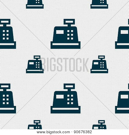 Cash Register Icon Sign. Seamless Pattern With Geometric Texture. Vector