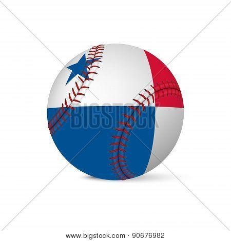Baseball with flag of Panama, isolated on white