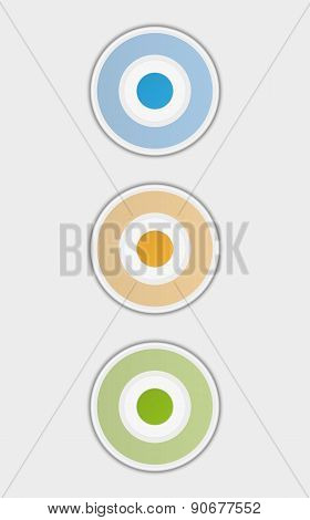 Three Color Badges Or Buttons