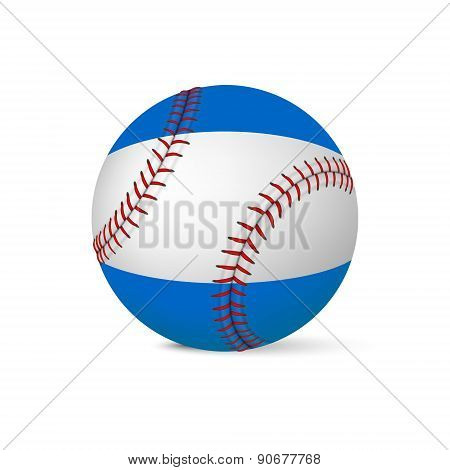 Baseball with flag of Nicaragua, isolated on white