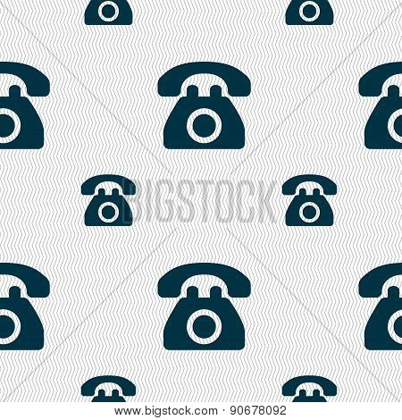 Retro Telephone Icon Sign. Seamless Pattern With Geometric Texture. Vector