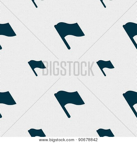 Finish, Start Flag Icon Sign. Seamless Pattern With Geometric Texture. Vector