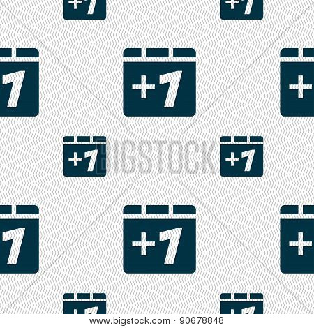 Plus One, Add One Icon Sign. Seamless Pattern With Geometric Texture. Vector
