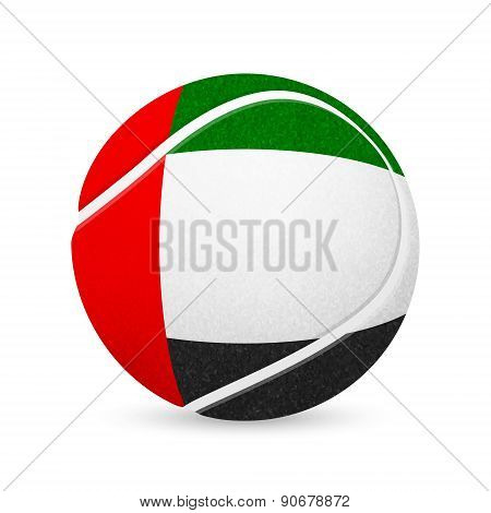Tennis ball with flag of United Arab Emirates, isolated on white