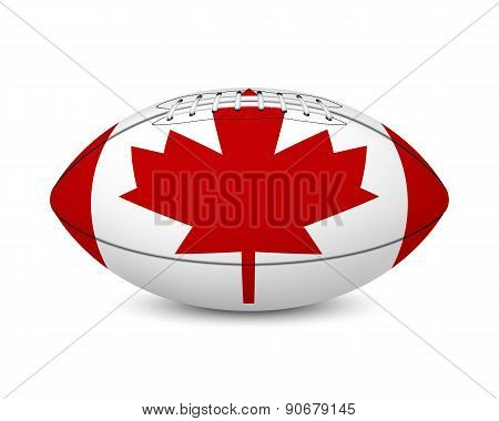 Football with flag of Canada, isolated on white