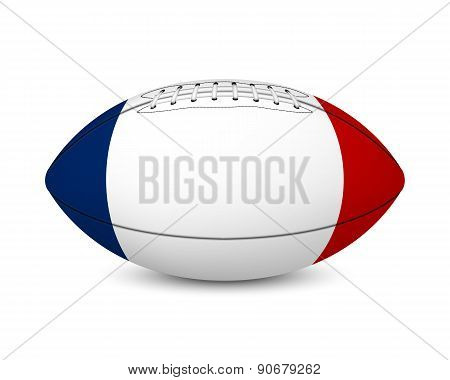 Football with flag of France, isolated on white