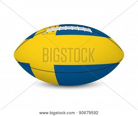 Football with flag of Sweden, isolated on white