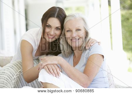 Mature Mother And Daughter Hugging