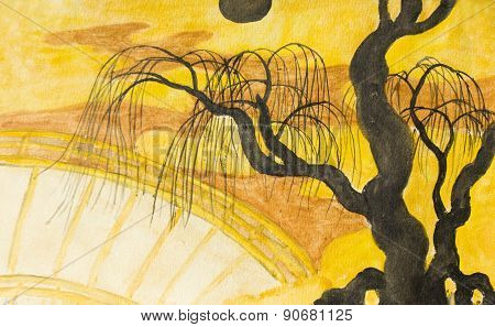 Tree, Moon And Bridge, Painting