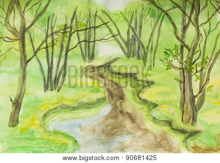 Spring Landscape, Watercolours