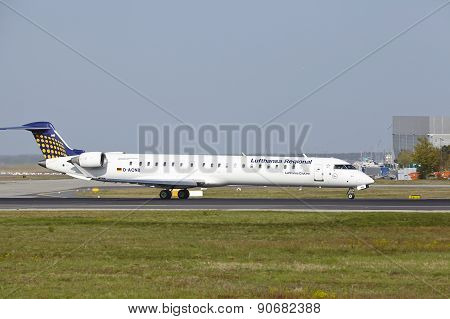 Frankfurt International Airport - Canadair Crj-900Lr Of Lufthansa Cityline Takes Off