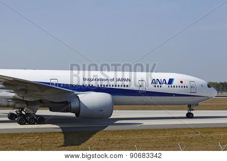 Frankfurt International Airport - Boeing 777 Of All Nippon Airways Lands