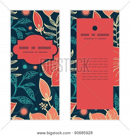 Vector vibrant tropical hibiscus flowers vertical frame pattern invitation greeting cards set