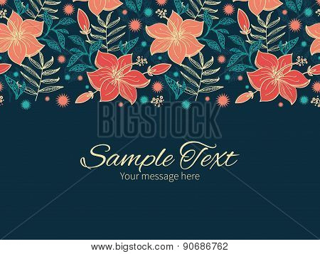 Vector vibrant tropical hibiscus flowers horizontal border greeting card invitation template