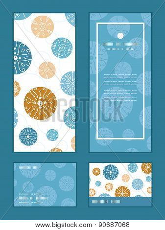 Vector abstract blue brown vintage circles back vertical frame pattern invitation greeting, RSVP and