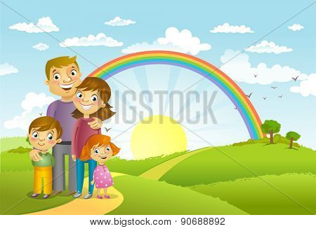 Happy family against a beautiful landscape, vector illustration.