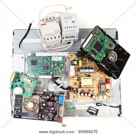 Electronic waste isolated on white