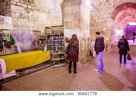 Split, Croatia - January 1: Tourists Take A Tour Of The Historic Cellars Of The Roman Emperor Diocle