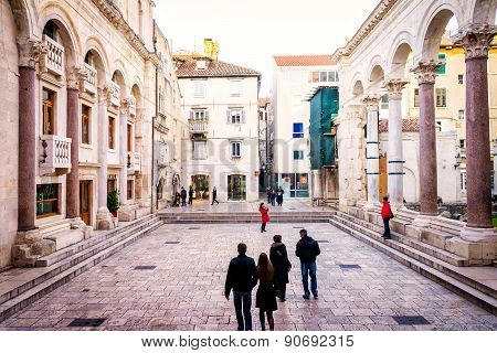 Split, Croatia - January 1: Tourists Take A Tour Of The Remains Of Palace Of The Roman Emperor Diocl