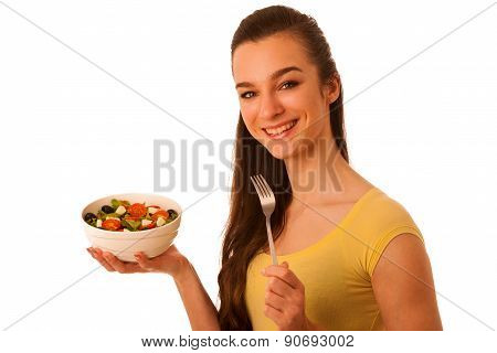 Beautiful Asian Caucasian Woman With A White Bowl Of Mixed Salad Isolated Over White Background Prom