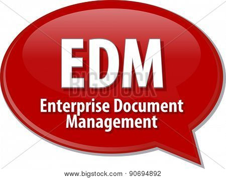 word speech bubble illustration of business acronym term EDM Enterprise Document Management