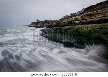 Waves Crashing On Rocks At Natural Bridges State Beach, In Santa Cruz, California.
