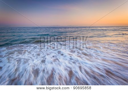 Waves In The Pacific Ocean At Sunset, In Santa Barbara, California.