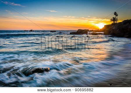 Waves In The Pacific Ocean At Sunset, Seen From Heisler Park, In Laguna Beach, California.
