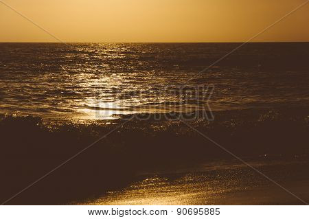 Waves In The Pacific Ocean At Sunset, Seen From Thousand Steps Beach, In Laguna Beach, California.