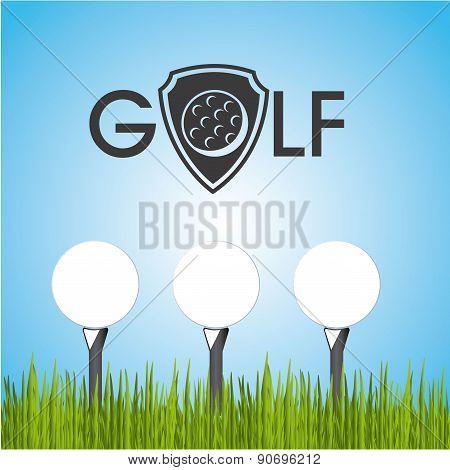 golf design over sky background vector illustration