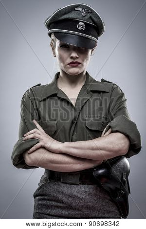 Force, German officer in World War II, reenactment, soldier beautiful woman
