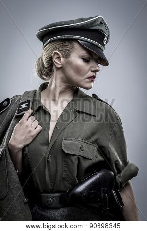 elegant, German officer in World War II, reenactment, soldier beautiful woman