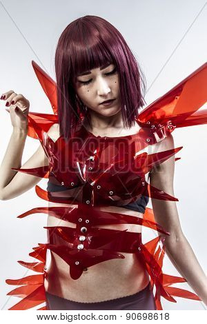 Cosplay, Japanese woman in costume of red plastic, modern and future concept