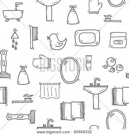 Seamless hand drawn bathroom background