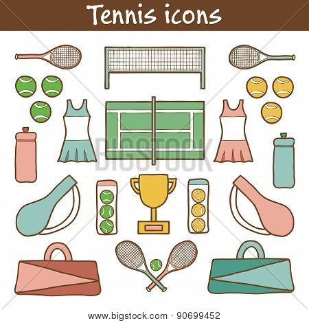 Set of hand drawn tennis icons