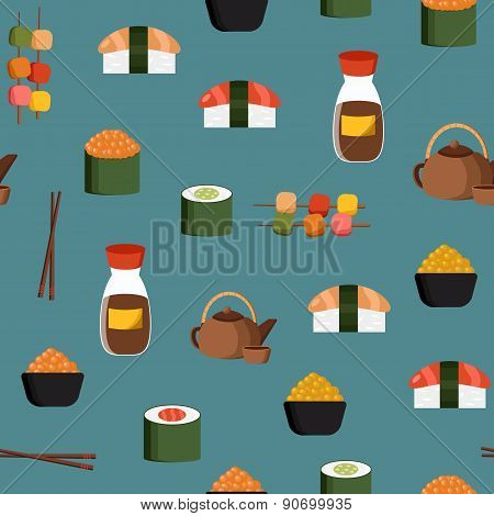 Seamless background on japanese cuisine theme