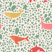 pic of whale-tail  - Awesome seamless pattern with stylish whales in bright colors - JPG
