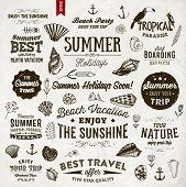 stock photo of bon voyage  - Set of Summer Elements - JPG