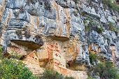 picture of mausoleum  - Mausoleum of Revash built into the side of a cliff near Chachapoyas Peru  - JPG